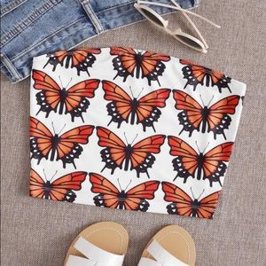 Tops - Butterfly Print Tube Top